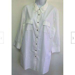 Women's White With Black Stitching Shirt 16